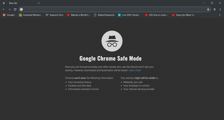 How to Start Chrome in Safe Mode - Chrome Incognito mode