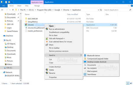 create chrome desktop shortcut