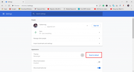 reset to default option in the chrome browser