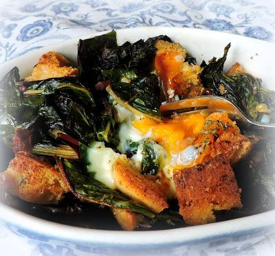 Baked Eggs with Swiss Chard & Garlic Croutons