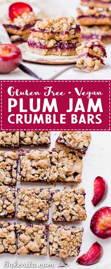 These Plum Crumble Bars have a delicious oatmeal crust and crumble topping that's filled with a simple plum jam. These simple bars highlight one of the summer's best stone fruits in a delicious gluten-free and vegan dessert.