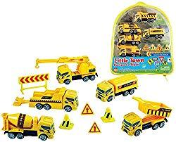 Image: WowToyz Construction Vehicles Backpack Playset | comes with 10 high quality die-cast metal construction vehicles and various plastic accessories
