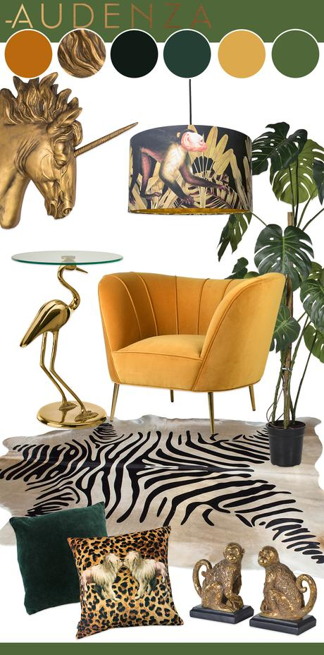 green and mustard yellow interior with animal print