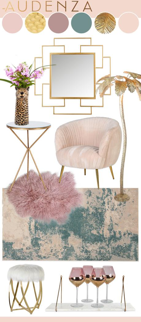 Pastel pink and gold interiors