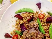 Recipe|| Cumin-spiced Mustardy Meatballs, with Sauteed Sugar Snaps Roast Beetroot