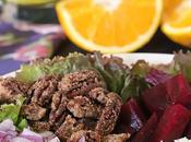 Roasted Beet Salad with Oranges, Pecans Feta Cheese