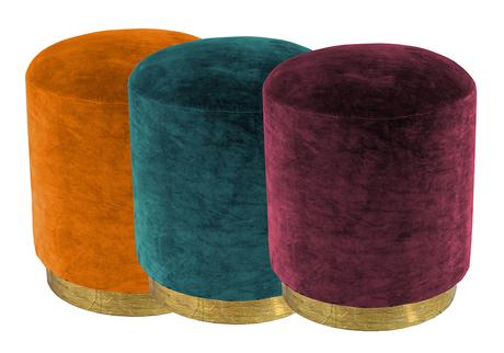 Colourful velvet stools with brass base from Audenza