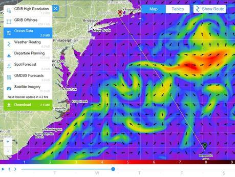 PredictWind screenshot showing ocean current data