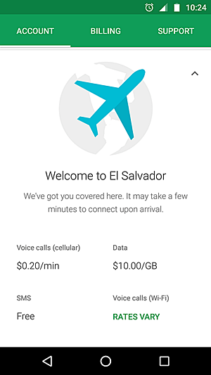 Screenshot of Project Fi app saying Welcome to El Salvador