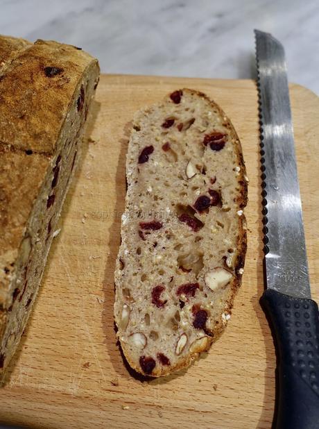 5 grain cranberry almond sourdough bread!
