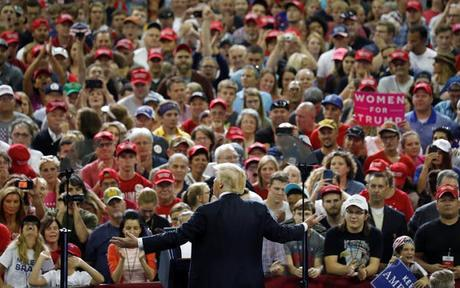 President Donald Trump holds a 'Make America Great Again' rally in Evansville, Indiana, Aug. 30, 2018.