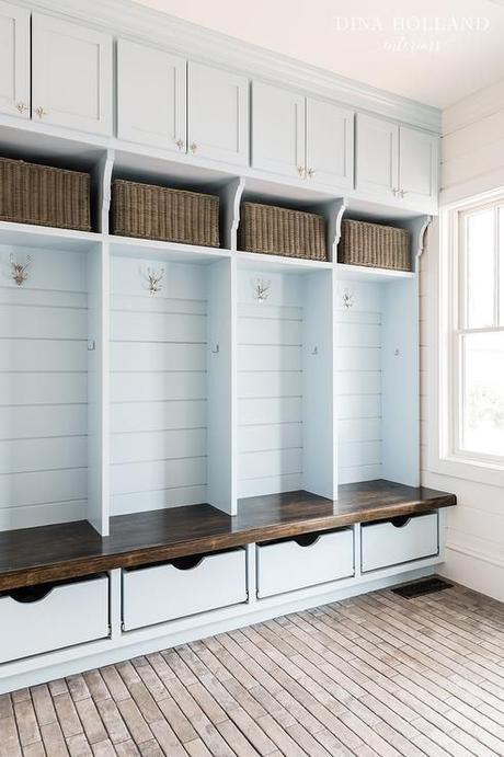 mudroom ideas closet - 20. Neutral Locker Mudroom Design - Harptimes.com