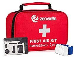 Image: First Aid Kit Trauma Bag; 154 Pieces Medical Supplies for Car Emergency, Complete Med Kit Tactical, EDC Gear for Camping, Hiking, Backpacking, Travel, Home, Businesses Plus Tourniquet and Safety Blanket