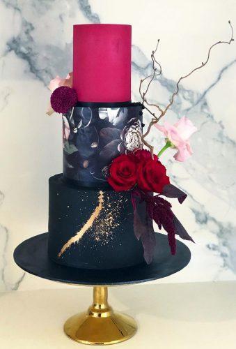 black wedding cake black cake with red theflowerhound