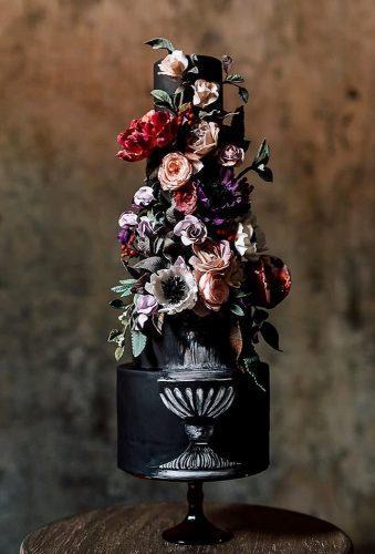 black wedding cake flower black cake nadiaandco