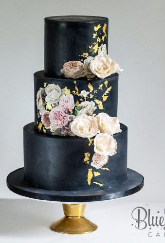 black wedding cake cake with flowers and gold bluelacecakes