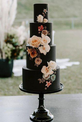 black wedding cake black cake with flowers zoeclarkcakes