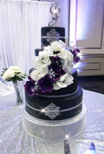 black wedding cake cake with flower and stones elite treats