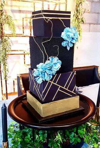 black wedding cake black cake blue flowers gloriouscakesbris
