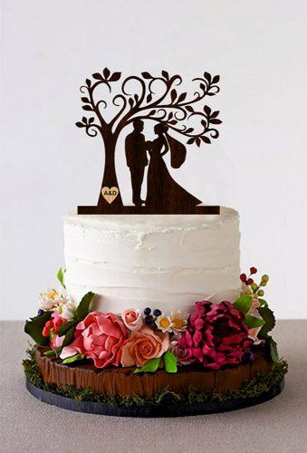 vintage wedding cake toppers couple under tree HomeWoodDeco