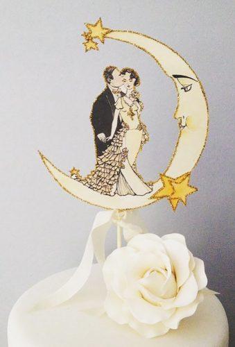 vintage wedding cake toppers couple under moon JolieEnRoseVintage