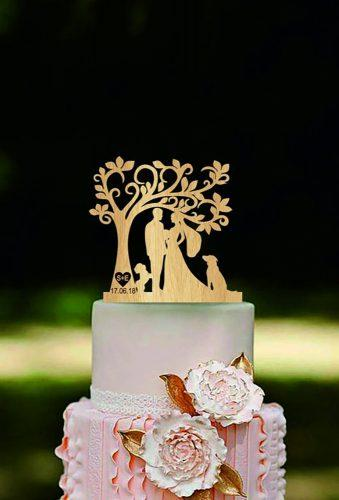 vintage wedding cake toppers couple under gold tree HomeWoodDeco