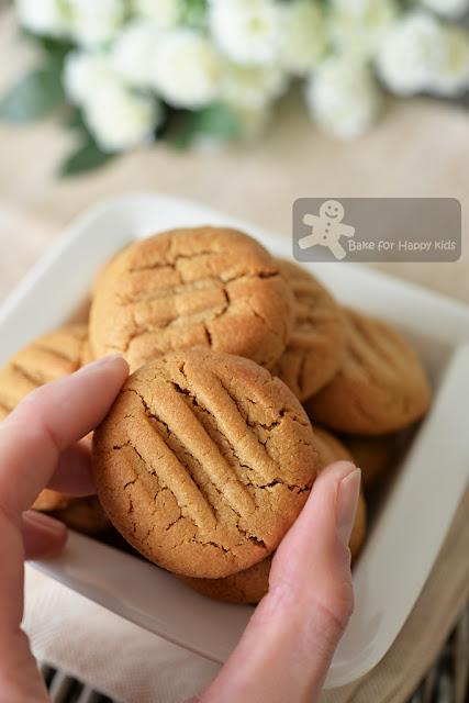 Easy 4-ingredients Gluten Free Peanut Butter Cookies - Made with Less Sugar