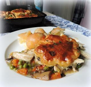 Chicken Pot Pie with a Puff Pastry Topping