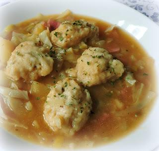 Cabbage & Ham Soup with Cheese Dumplings