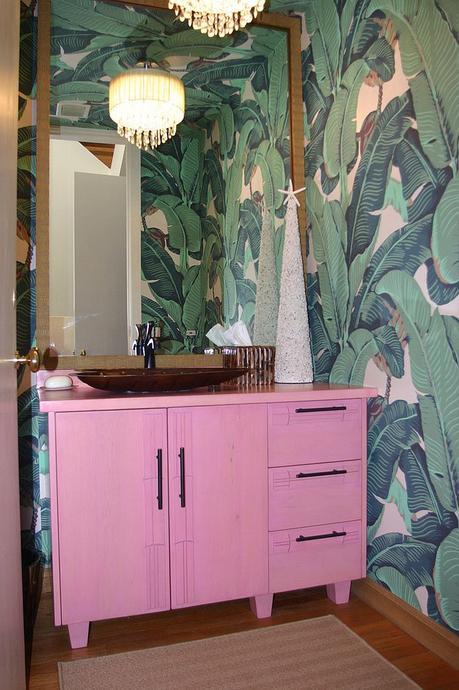 Tropical Bathroom with Pink Vanity