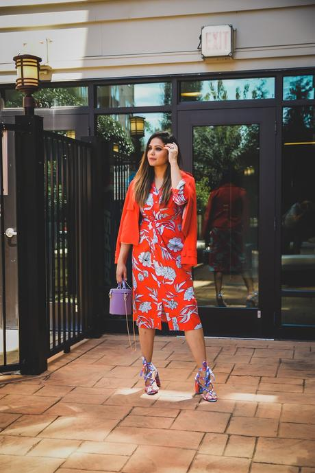 pantone color trend 2019, red, blue and white, brights, shirtdressm trench coat, J crew printed sandals, fashion, street style, long hair, monochromatic, fall fashion, fall style, myriad musings