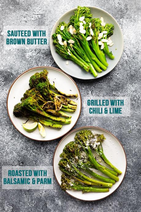 three plates of broccolini, cooked in different ways