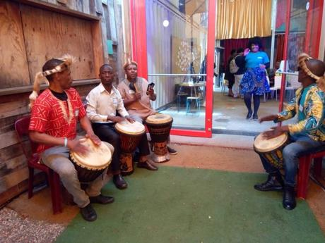 Drummers entertain attendees of the Airbnb Africa Travel Summit 2018 Cape Town