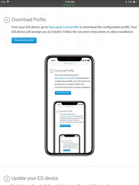 download profile - apple beta program