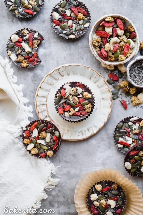 These Superfood Cacao Fudge Bites are creamy, so rich in cacao flavor, and topped with all sorts of delicious superfoods, like cashews, goji berries, chia seeds, and more. They'll satisfy your candy craving and they're gluten-free, paleo, and vegan!