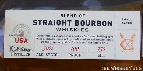 Coppercraft Blend of Straight Bourbon Whiskies Label