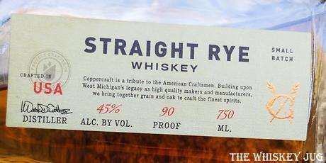 Coppercraft Rye Whiskey Label