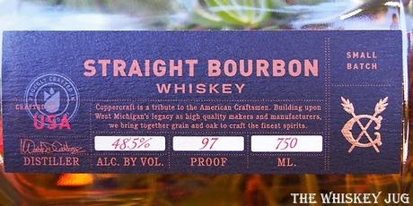 Coppercraft Straight Bourbon Whiskey Label