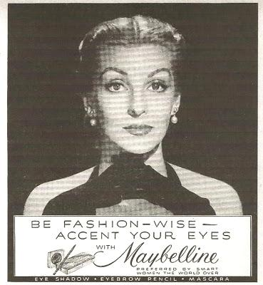 Maybelline featured Hollywood Star Loretta Young in  glamorous 1950 glossy ads
