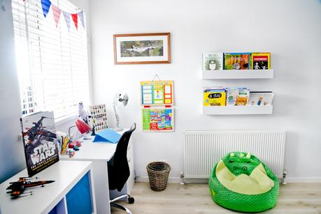 Finished Boys Bedroom Makeover: Ethans Blue, White And Red Big Boy Room