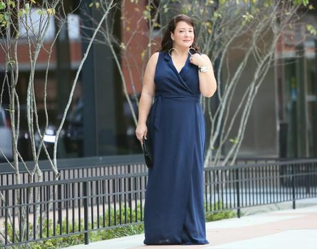 What I Wore: Adrianna Papell Navy Maxi Dress