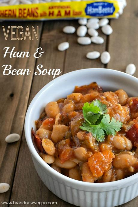 #ad An inexpensive but healthy Vegan Ham and Bean Soup with tons of great southwestern flavor. Easy to make in less than an hour using your Instant Pot Pressure Cooker