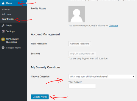 Manyally Add WP Security Questions