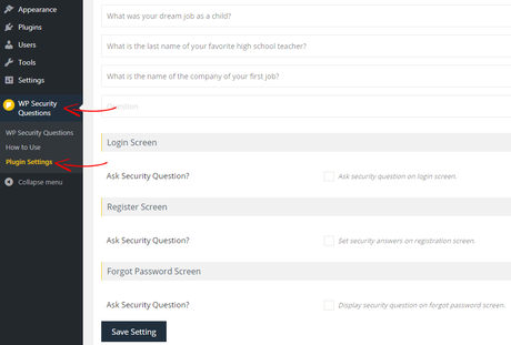 WP Security Questions Settings