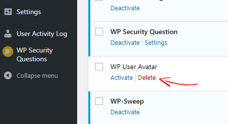 WordPress plugin delete