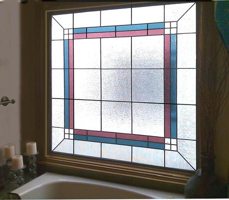 clear stained class with different colors of stained glass combined with bathroom natural light