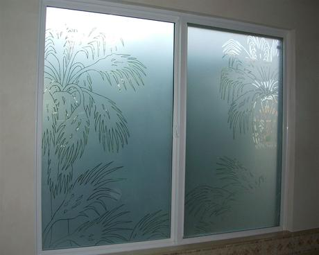 frosted glass window with custom etched glass bathroom