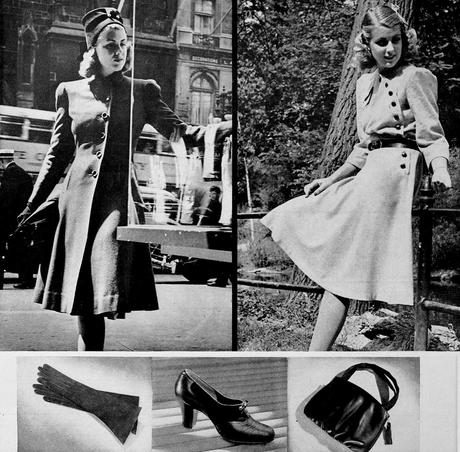 1940s-Fashion---Fall-Dresses and coats in 1940