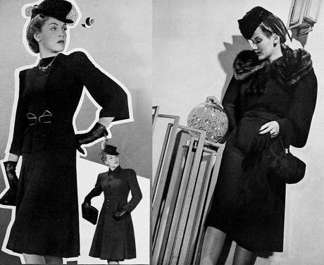 1940s-Fashion---Fall Dresses and coats in 1940