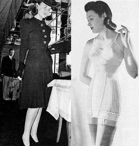 1940s-Fashion---Fall-Dresses-in-1940-with bra and girdle